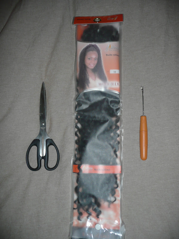 are the tools I used to install the braids ~ scissors, braid hair ...