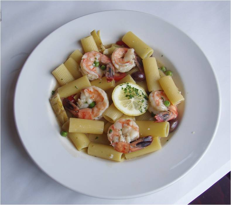 ... olives in a lemon and garlic sauce tossed with rigatoni pasta