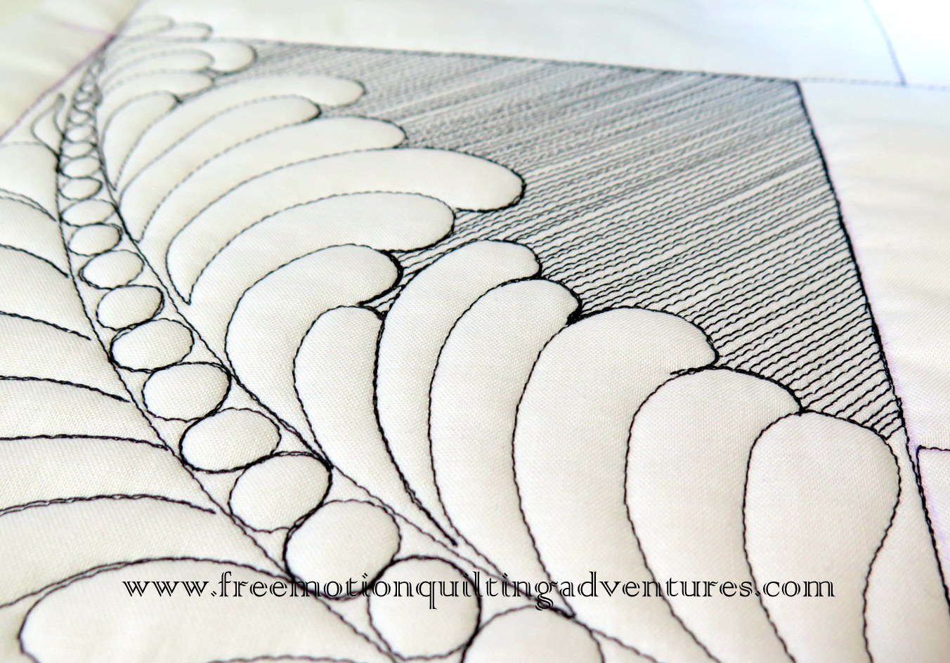 Matchstick fill around free motion feathers