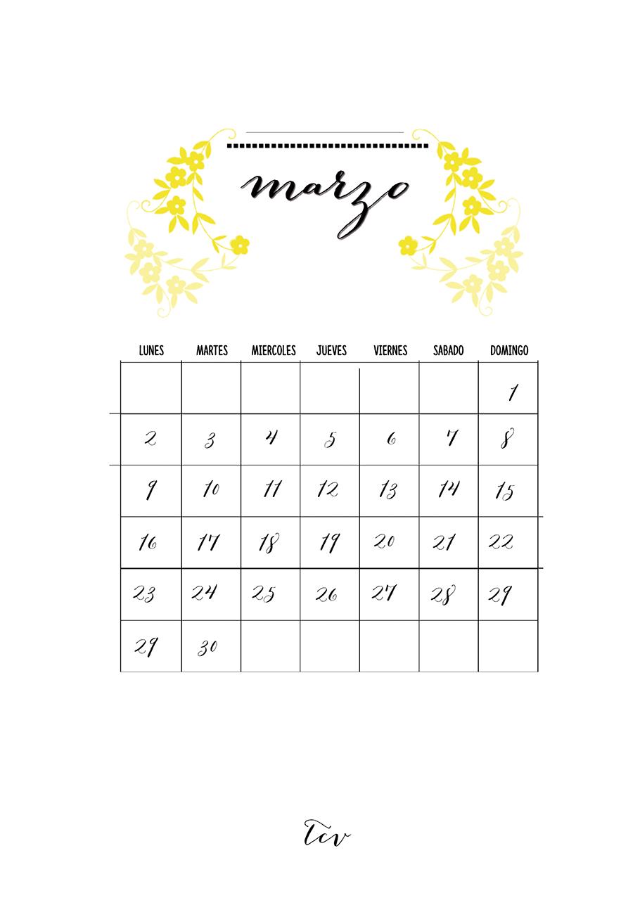 Calendario descargable marzo