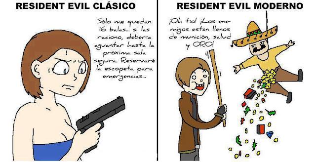 Diferencias entre videojuegos clásicos y actuales Resident+Evil+antes+y+ahora