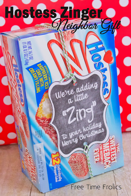 Hostess Zinger neighbor gift via www.freetimefrolics.com #hostess #zinger #neighborgift