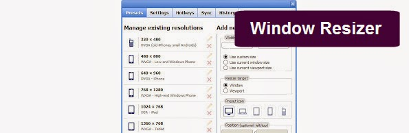 Window Resizer Google Chrome extension