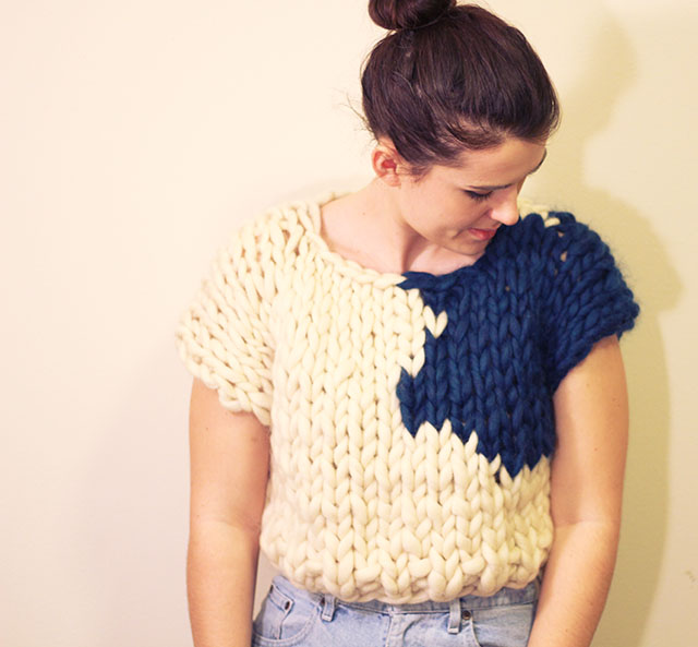 hand knit giant knitting crop top girl sexy fashion avant garde couture intarsia design brunette spinning wool yarn diy project handmade addie marie