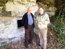 Mayor Tom Walker and I at Entrance to Newell Street Caves