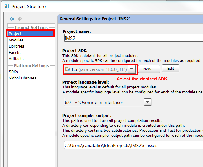 Set Project SDK in Project Structure