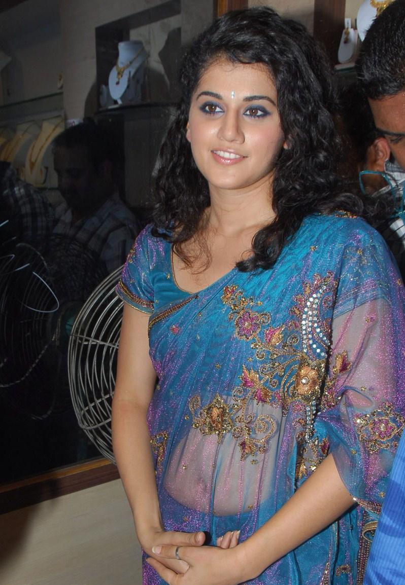Tapsee in blue designer saree