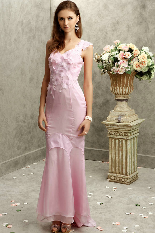 beautiful one shoulder long chiffon pink junior prom dress with flowers and details
