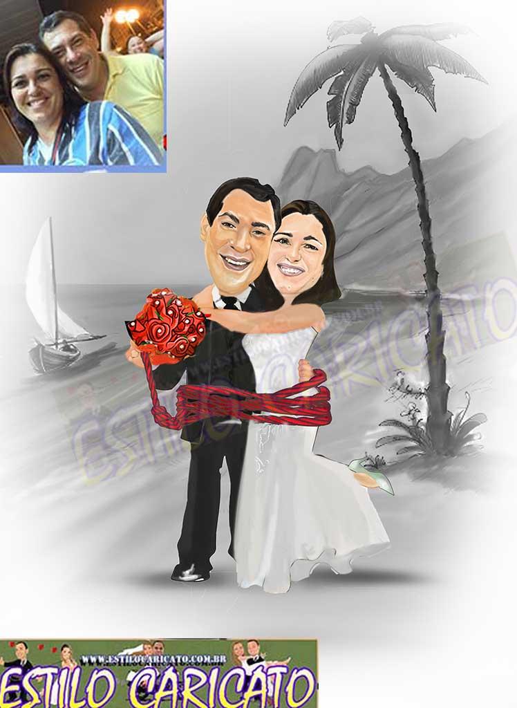 Caricatura Noivos Casal Assinatura Pb1