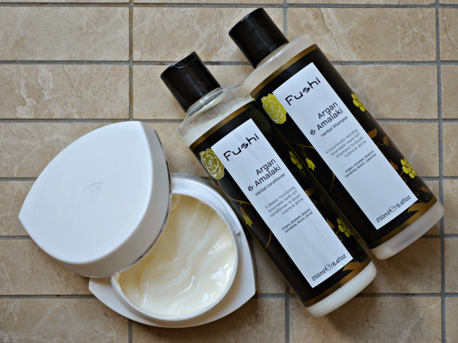 Fushi Argan and amalaki shampoo and conditioner Dove intensive repair mask