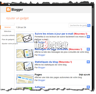 List Blogger Gadgets