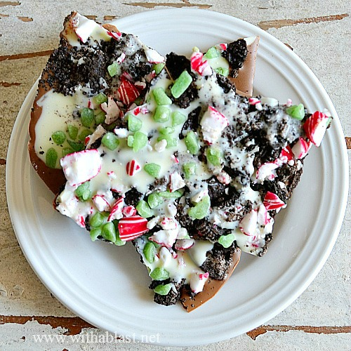 Double Peppermint Oreo Bark ~ All your favorites in one sweet treat ! Chocolate, Oreos, Peppermint .. and packed in a small box or bag this makes the ideal gift for colleagues or neighbors #Christmas #ChristmasBark #GiftIdea #SweetTreat #ChocolateBark www.WithABlast.net