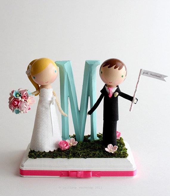 wedding cakes cutesy custom monogram cake topper. Black Bedroom Furniture Sets. Home Design Ideas