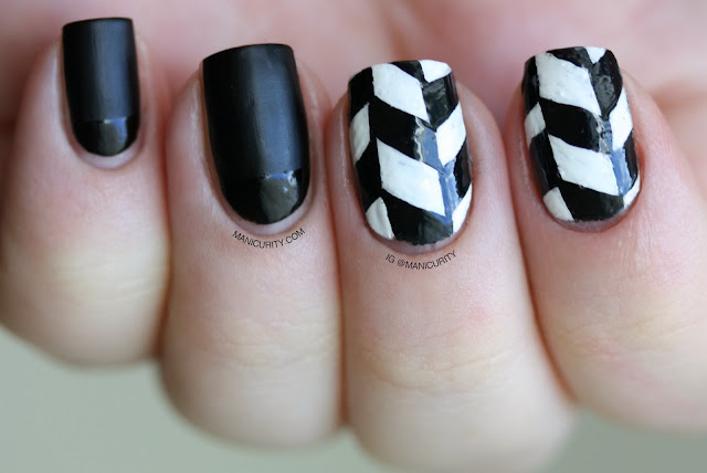 Manicurity | The Digit-al Dozen Does Black & White: Edgy Freehand Herringbone Nail Art featuring Cult Nails Fetish