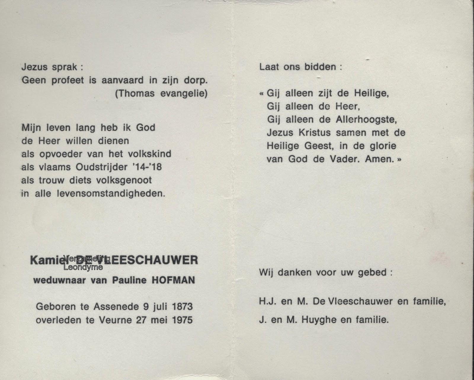Bidprentje, Kamiel De Vleeschauwer 1873-1975, oud-strijder 1914-1918. Verzameling Leondyme.