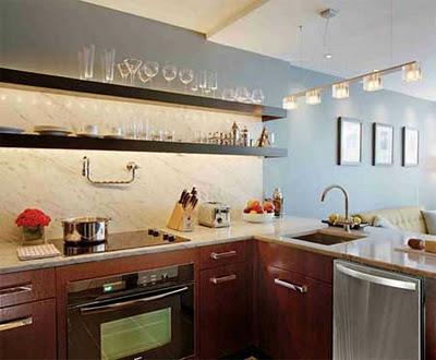 estantes modernos para cocina en el