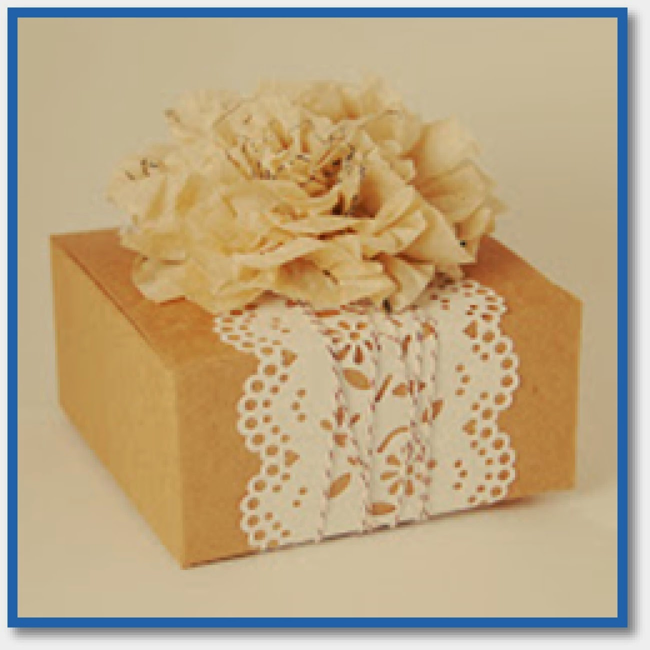 Gift topped with sewing pattern flower