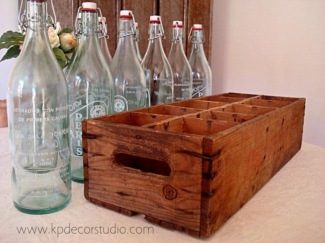 Kp tienda vintage online caja de botellas antiguas de - Caja madera antigua ...