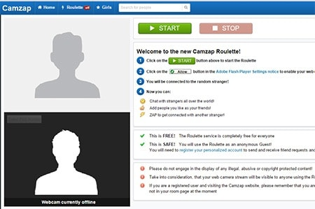 camzap free website for chatting with random strangers online when bored
