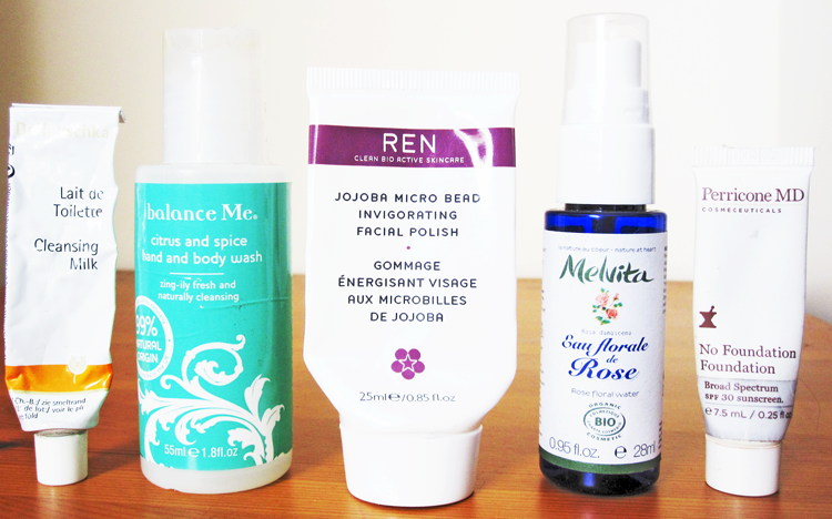 A picture of Dr. Hauschka, Balance Me, REN, Melvita & Perricone MD samples