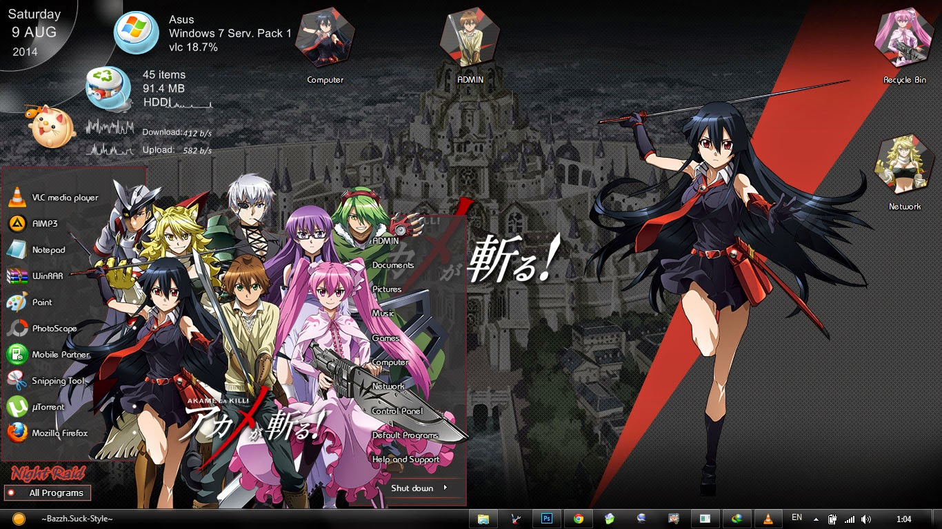 [Theme Win 7] Akame Ga Kill / アカメが斬る! By Bashkaraa
