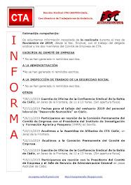 C.T.A. INFORMA, LO REALIZADO EN NOVIEMBRE DE 2019