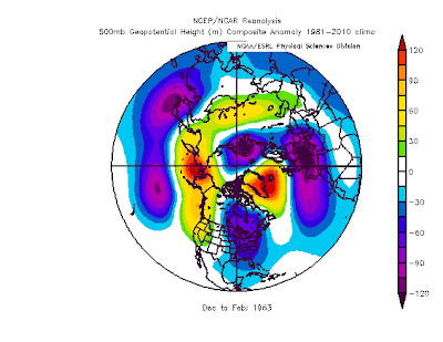 the mid level atmospheric pattern for the winter of 1962