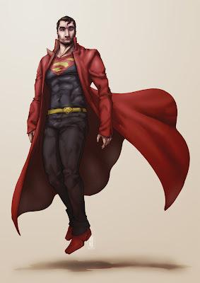 Sobretudo vermelho super-homem