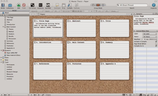 Scrivener Writing Software Corkboard View