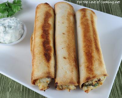 Creamy Chicken Baked Flautas