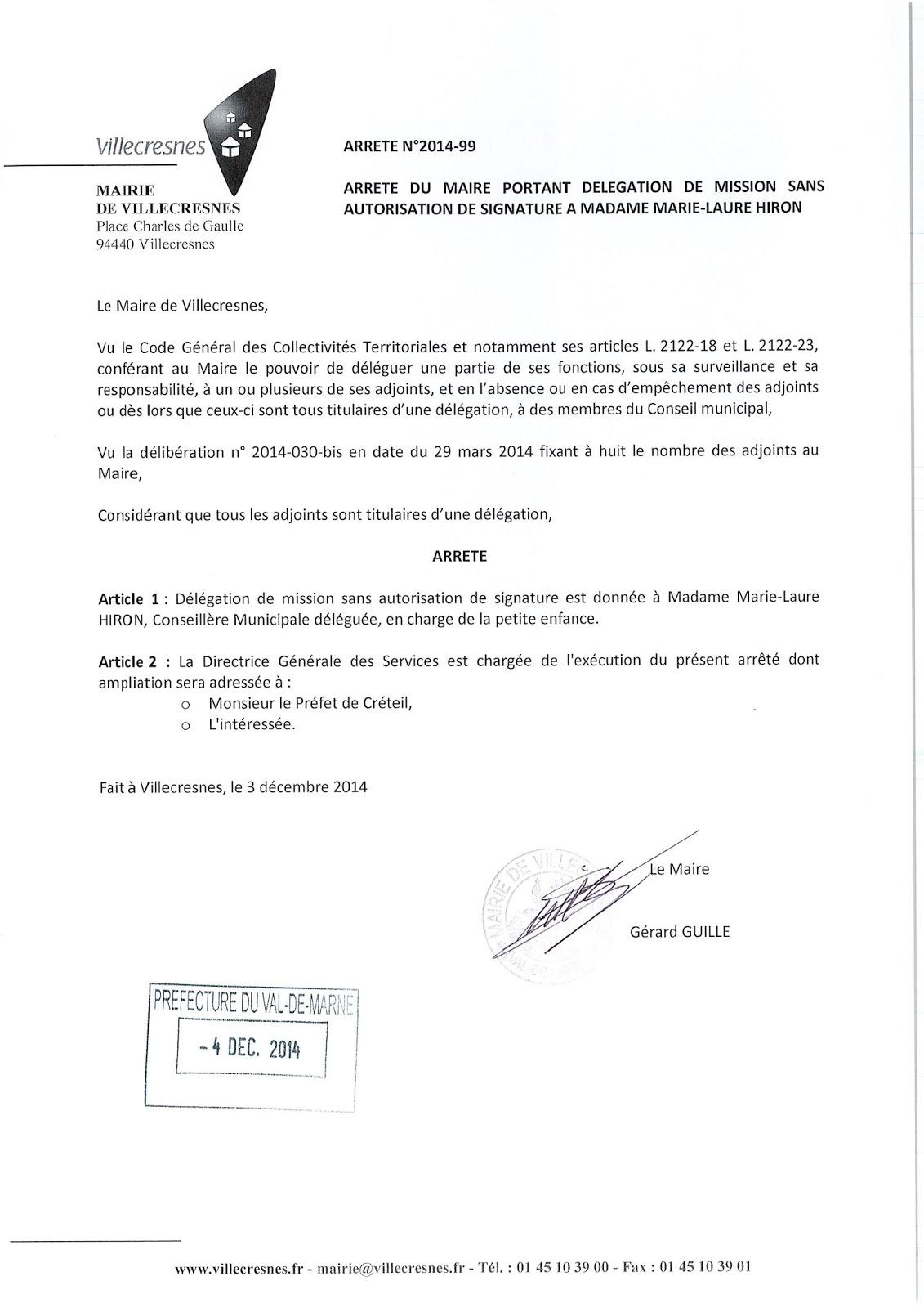 2014-099 Délégation de fonction mission sans autorisation de signature à Madame Marie-Laure Hiron