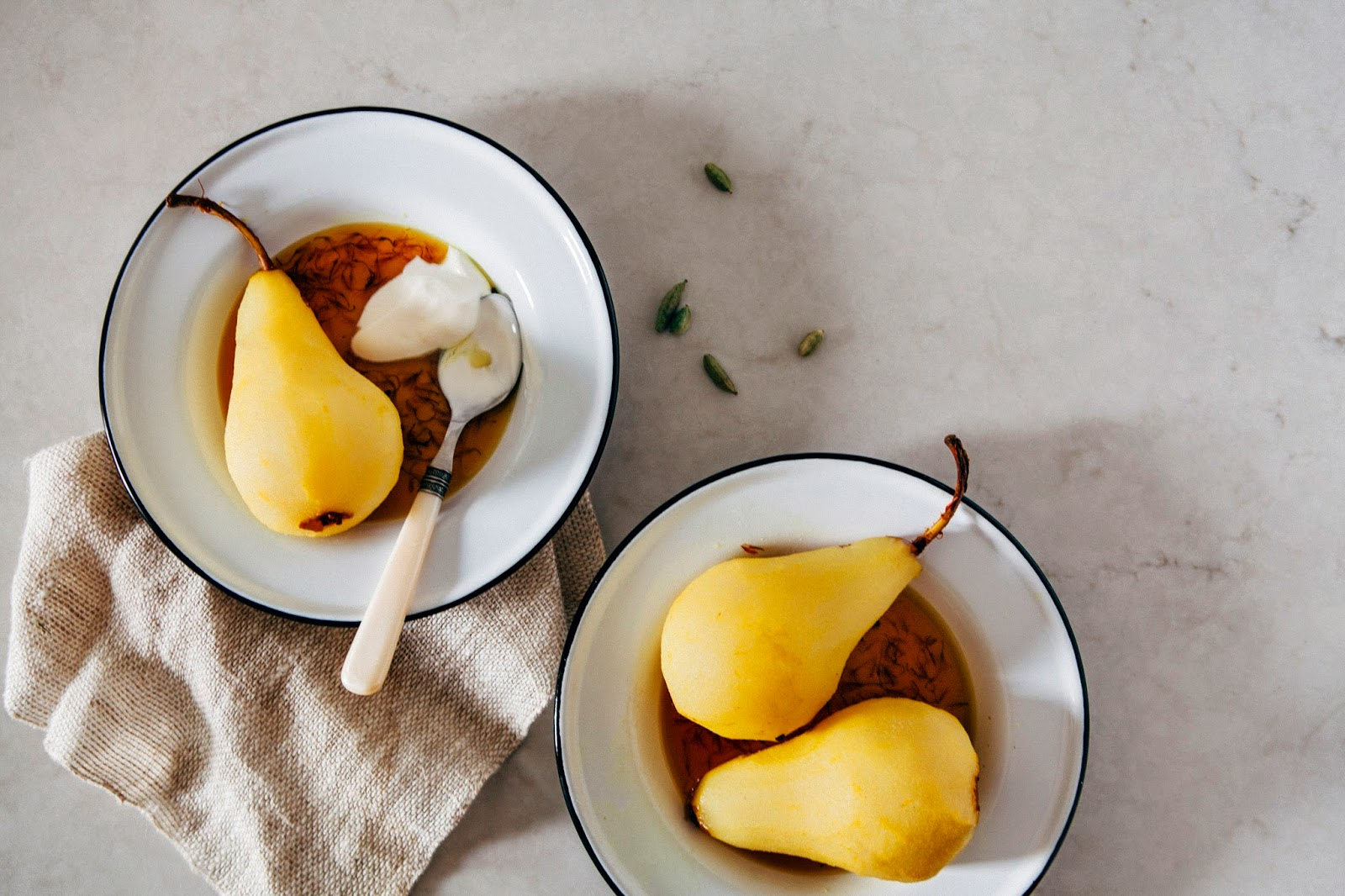 Poached Pears With Cardamom And Saffron Recipe — Dishmaps