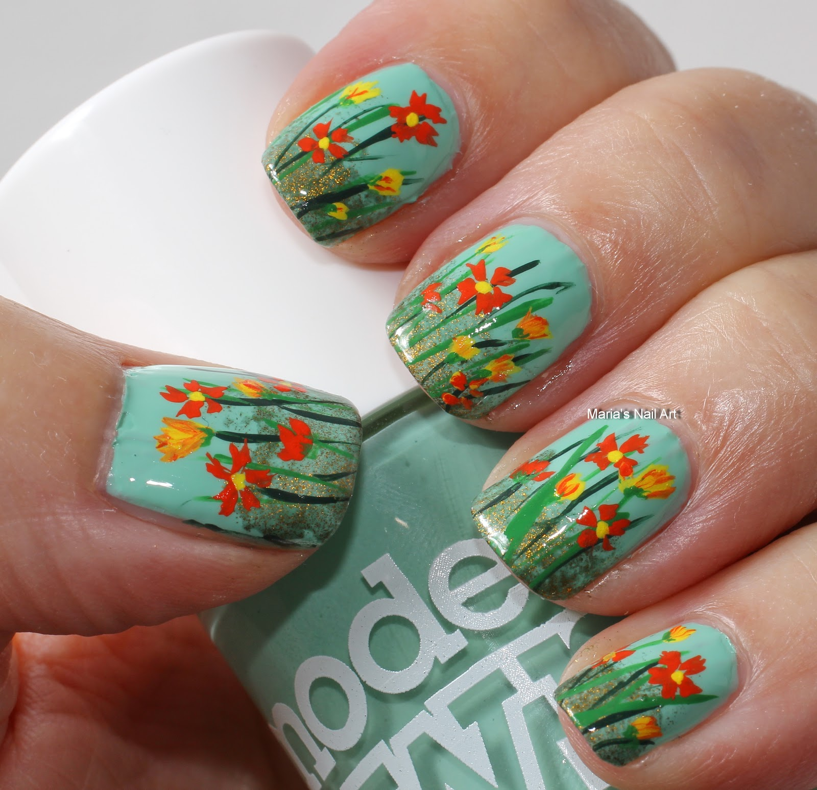 Flower Nail Art: Marias Nail Art And Polish Blog: The Wild Flowers On The