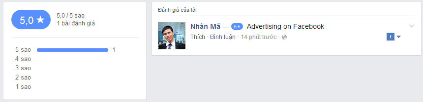 Hướng dẫn cách tạo đánh giá review 5 sao cho trang Fanpage trên Facebook