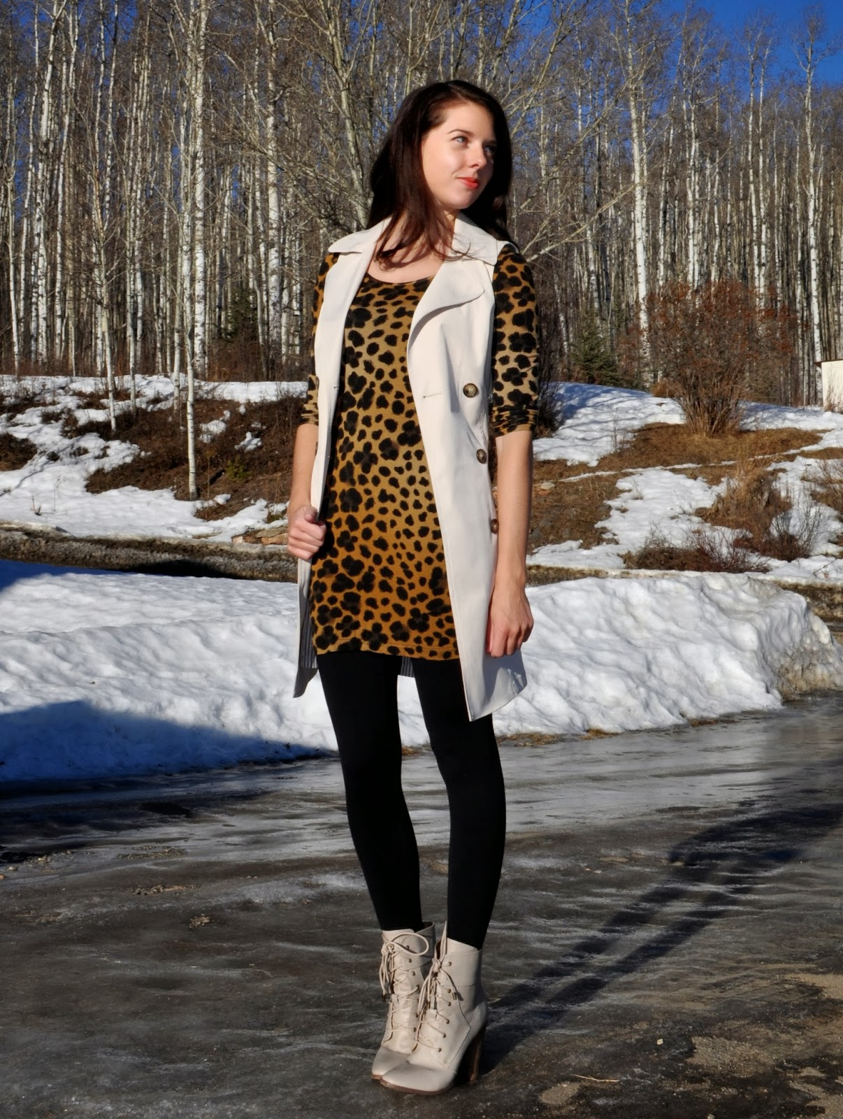 Leopard Print Dress Sleeveless Trench