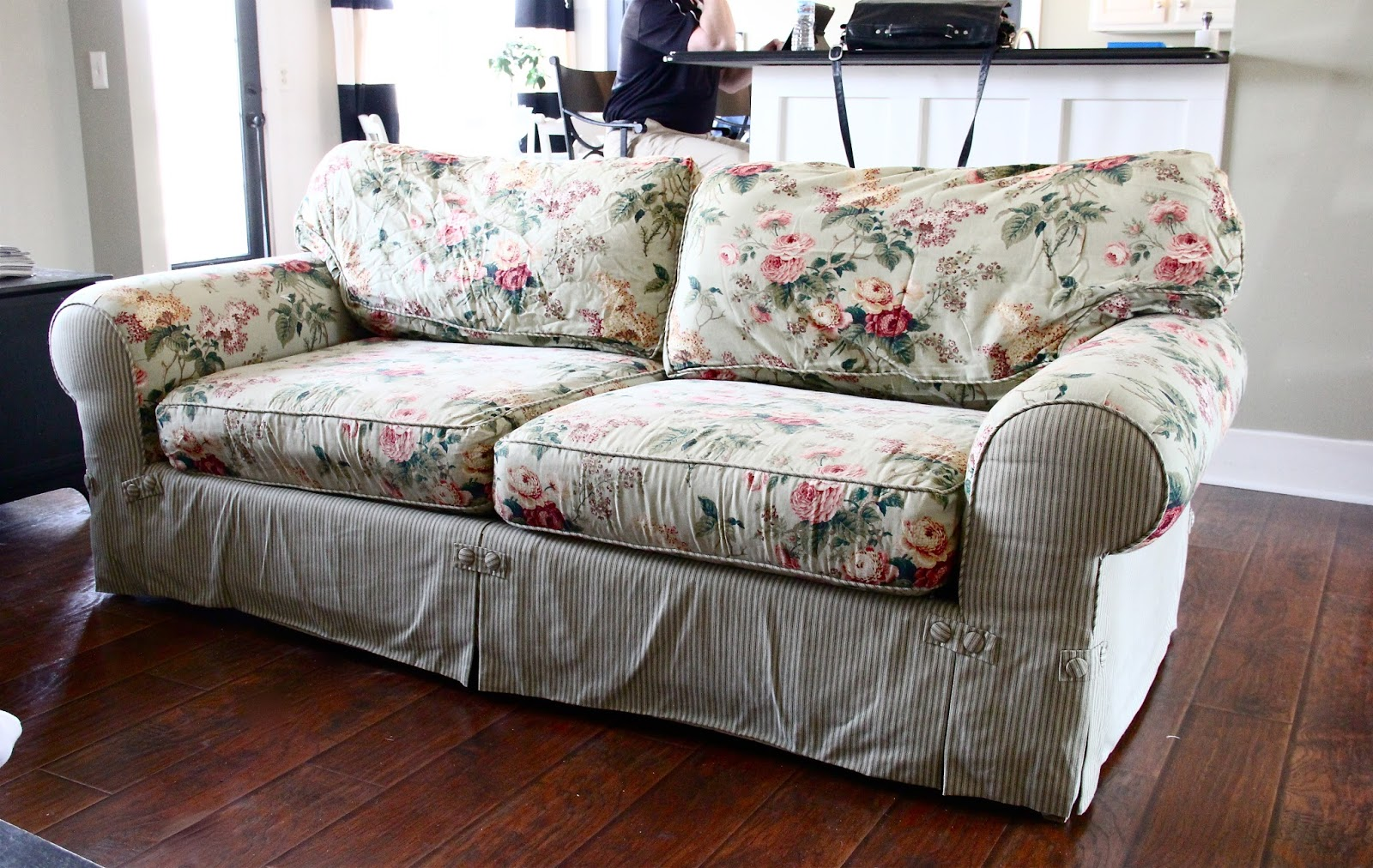 Slipcover fabric by the yard - Ten Year Old Sofa Makeover