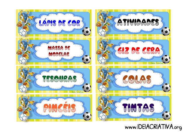 Etiquetas organizar material Tema Copa do Mundo 2014