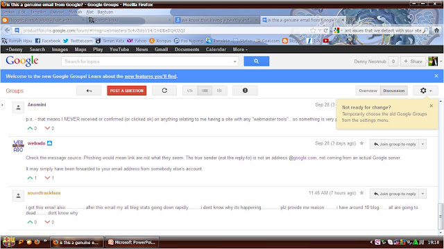 Email Notifications form Google Webmaster Tools