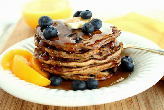 Kudos Kitchen By Renee - Blueberry Peach Pancake Recipe