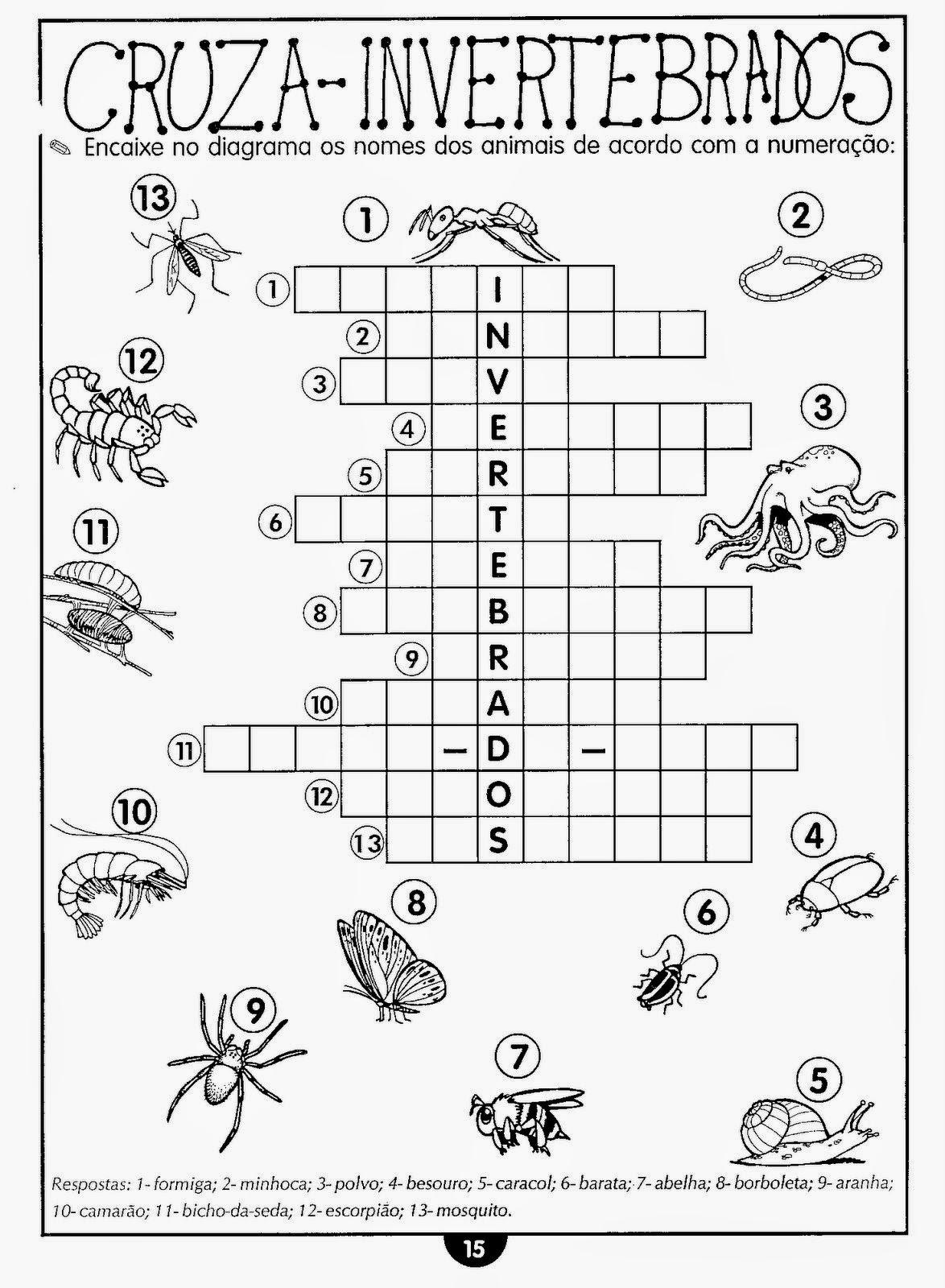 Atividades de ciências 4 ano animais vertebrados e invertebrados