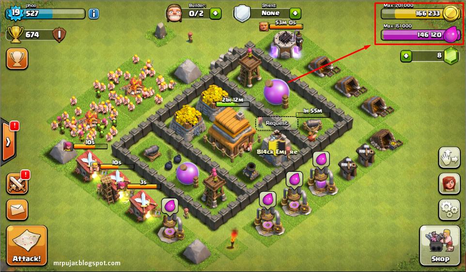 menambah gold dan elixir clash of clans