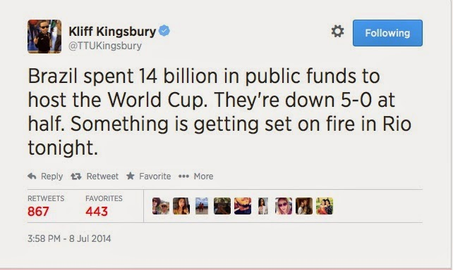 Kliff Kingsbury predicts riot in Brazil following soccer team's World Cup loss to Germany on Twitter.