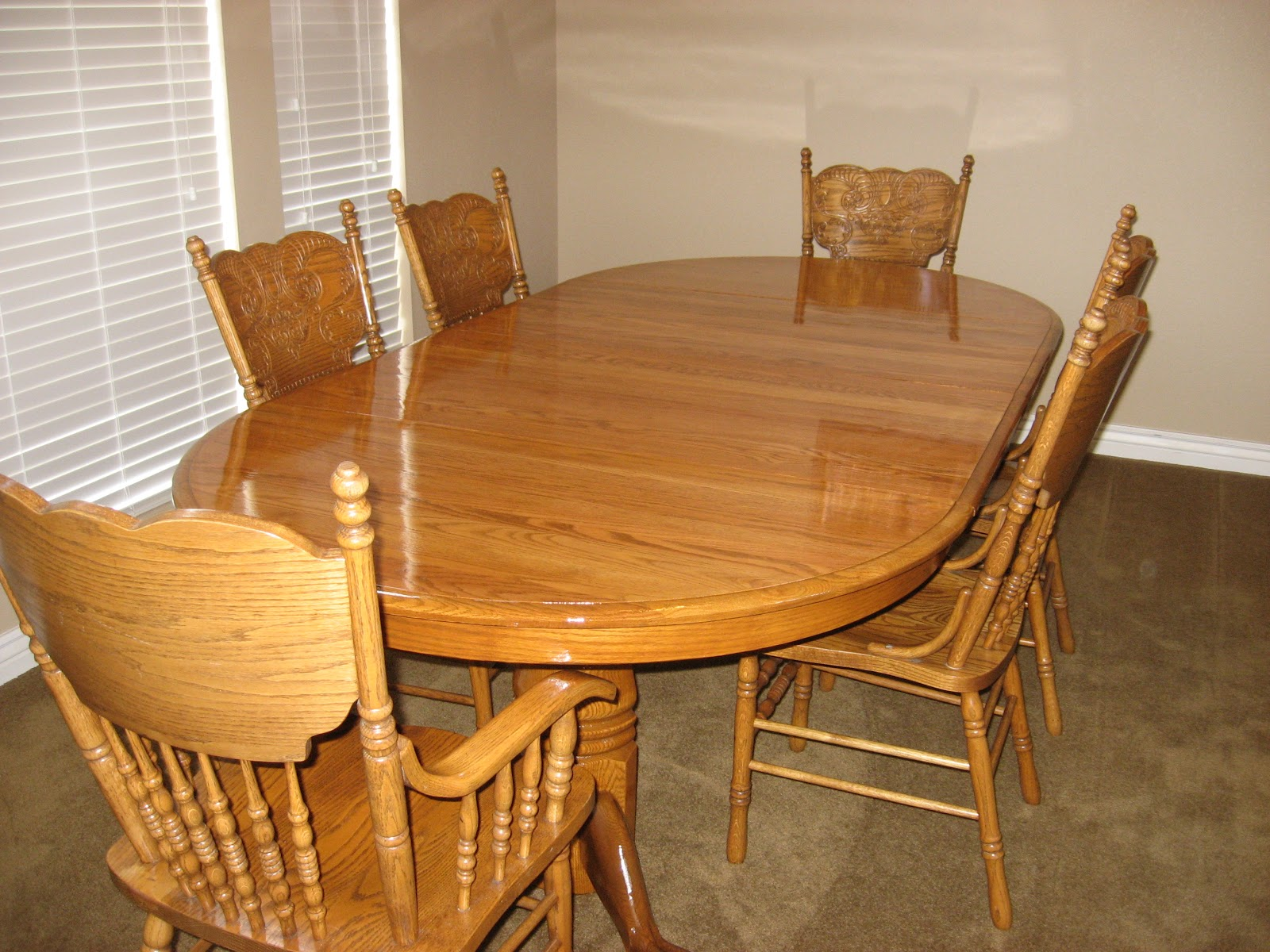 Solid Oak Table And Chairs Refinished With Early American. Full resolution‎  portraiture, nominally Width 1600 Height 1200 pixels, portraiture with #C37708.