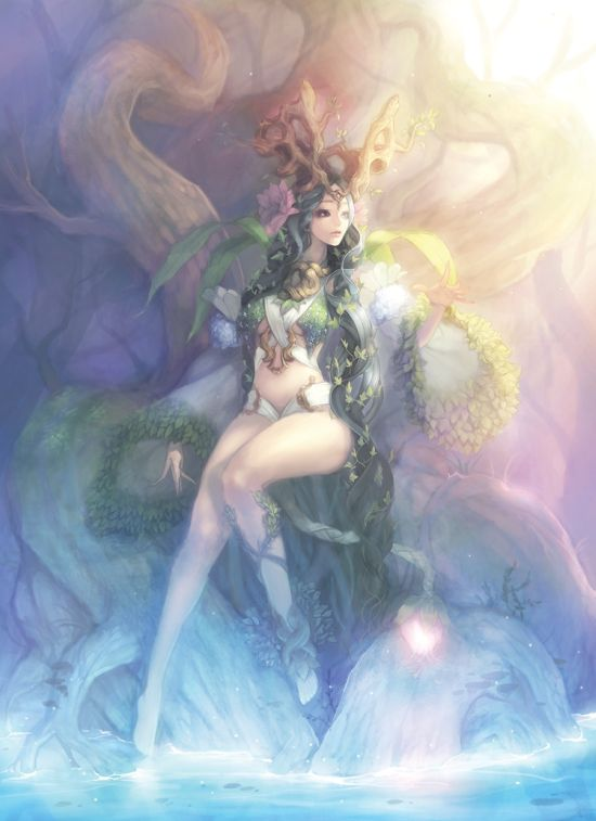 Gwon Yun Jeong lovecacao illustrations fantasy women beautiful sexy Forest queen