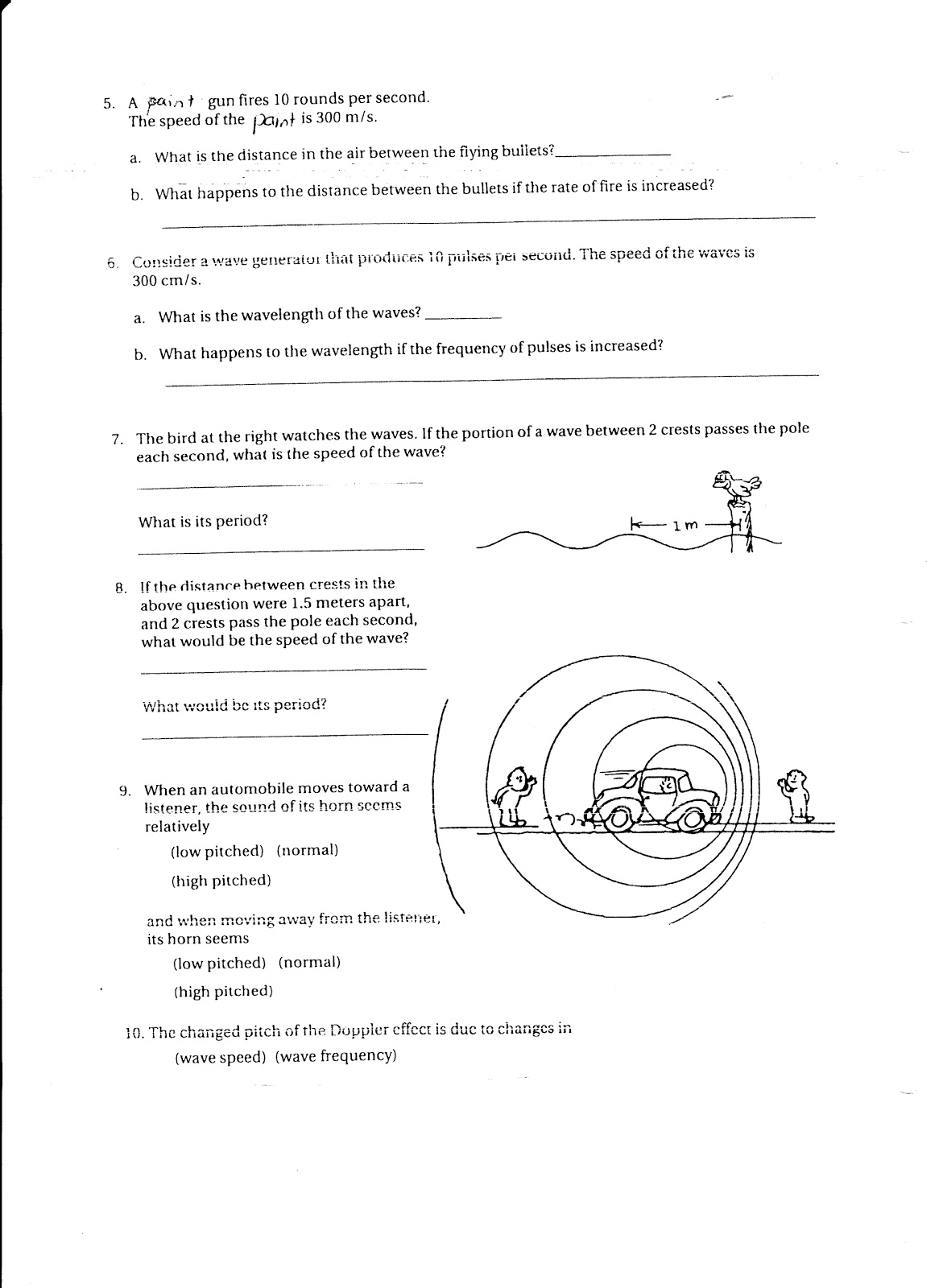 Worksheets Doppler Effect Worksheet physics due wed feb 16 waves and vibrations worksheet worksheet
