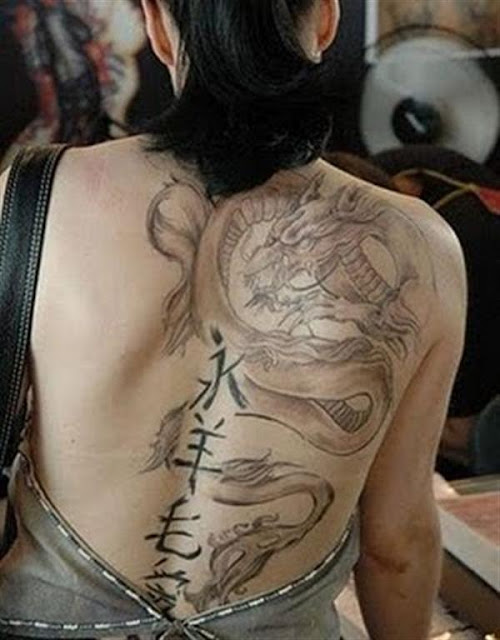 Light Dragon body Tattoo For Women