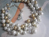 Cluster Pearl and Crystal Bridal Necklace