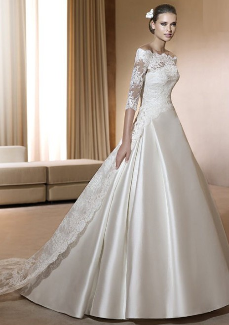 Bridal dresses cheap custom made bridal gown lace satin for Discount lace wedding dresses