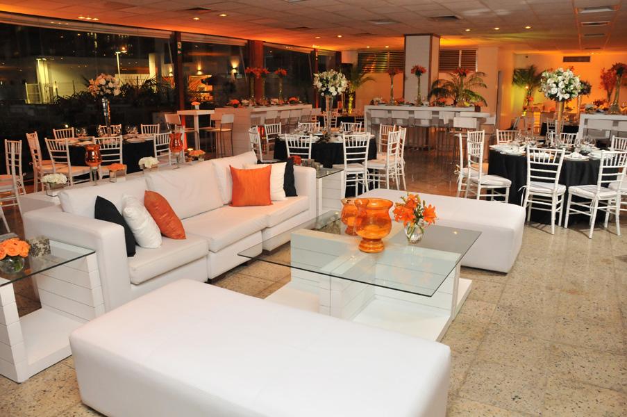 Design de Interiores Decoração Casamento Preto, Branco e Laranja