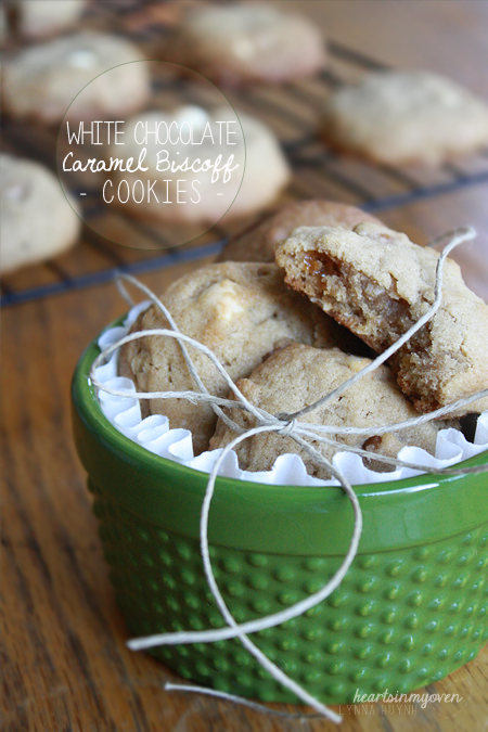 Hearts in My Oven: White Chocolate Caramel Biscoff Oatmeal Cookies